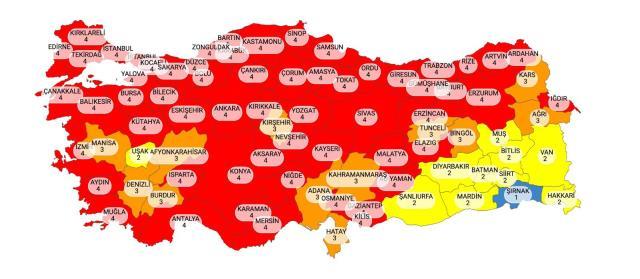 Coronavirüs Risk Haritası'nda, 58 il, kırmızı kategoriye geçti